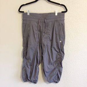 New Lululemon Gray Striped Dance Studio Crops